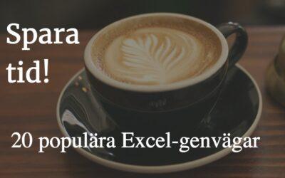 20 populära Excel-genvägar
